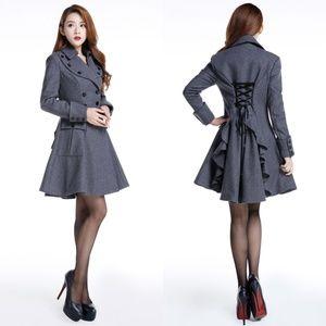 Jackets & Blazers - Plus Size Lace Up Back Wool Coat Jacket Pockets